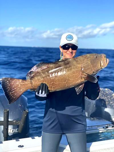 A nice Grouper caught while on a reef and wreck charter fishing trip in islamorada